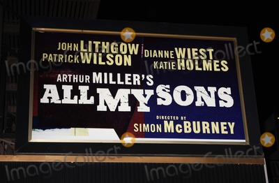 Dianne Wiest Photo - Theatre signage for the Broadway production of Arthur Millers play ALL MY SONS starring Katie Holmes John Lithgow Dianne Wiest and Patrick Wilson at the Gerald Schoenfeld Theatre Previews begin September 18 08 Opening night is October 16 08Digital Photo by Adam Nemser-PHOTOlinknet