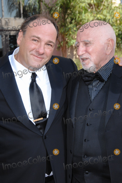 Photo - Sopranos stars James Gandolfini (left) with Dominic Chianese at the 59th Primetime Emmy Awards at the Shrine AuditoriumSeptember 16 2007 Los Angeles CAPicture Paul Smith  Featureflash