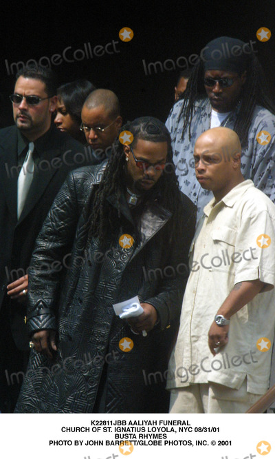 Aaliyah Photo - Aaliyah Funeral Church of St Ignatius Loyola NYC 083101 Busta Rhymes Photo by John BarrettGlobe Photos Inc