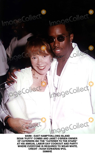 Sean Puffy Combs Photo - 499 - East Hamptonlong Island Sean Puffy Combs and Janet Obrien Owner of Caterers Inc the Caterer to the Stars at His Annual Labor Day Cookout and Party Where Everyone Is Required to Wear White Credit  Hugh Edwards IpolGlobe Photos Inc