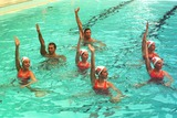 Ian Thorpe Photo - DAVE  MORGANALPHA 046933 28022002 SYDNEY AUSTRALIAIAN THORPE AND GRANT HACKETT WITH AUSTRALIAN SYNCHRONISED SWIMMING TEAM AT NORTH SYDNEY OLYMPIC POOL-OLYMPIC CHAMPIONS SWIMMERS IAN THORPE GRANT HACKET  KIEREN PERKINS DONNED NOSE PAGS AND JOINED MEMBERS OF THE AUSTRALIAN SYNCHRONSED SWIMMING SQUAD IN SYDNEY TO LAUNCH UNCLE TOBYS NEW EDGE FOR LIFE CAMPAIGNCREDIT DAVE MORGANALPHAGLOBE PHOTOS INC
