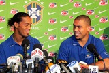 Juninho Pernambucano Photo - 20041116 GUAYAQUIL ECUADOR Players Ronaldinho Gaucho and Ronaldo of the Brazilian soccer team talks to the press at the Hilton Colon The Brazilian team faces Ecuador on the 17th November 2004 at the Guayaquil Stadium for the 2006 World Cup qualifying There are 7 Brazilian nominees for the Golden Ball Award 2004 Adriano (Brazil - Inter Milan Italy) Ailton (Brazil - Schalke 04 Germany) Emerson (Brazil - Juventus Italy) Juninho Pernambucano (Brazil - Olympique Lyon France) Kaka (Brazil - AC Milan Italy) Ronaldinho (Brazil - Barcelona Spain) and Ronaldo (Brazil - Real Madrid Spain)PHOTO WILTON JUNIOR-CITYFILES-GLOBE PHOTOS INCK46434