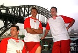 Ian Thorpe Photo - DAVE  MORGANALPHA 046933 28022002 SYDNEY AUSTRALIAAUSSIE SWIMMING GREATS GRANT HACKETT IAN THORPE AND KIEREN PERKINS AT NORTH SYDNEY OLYMPIC POOL-OLYMPIC CHAMPIONS SWIMMERS IAN THORPE GRANT HACKET  KIEREN PERKINS DONNED NOSE PAGS AND JOINED MEMBERS OF THE AUSTRALIAN SYNCHRONSED SWIMMING SQUAD IN SYDNEY TO LAUNCH UNCLE TOBYS NEW EDGE FOR LIFE CAMPAIGNCREDIT DAVE MORGANALPHAGLOBE PHOTOS INC