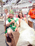 King Queen Photo - Coney Island Brooklyn NY June 22 2002 Mermaid Parade Participants Get Ready For the 20th Annual Parade King  Queen of Parade Boro President Marty Markowitz and Channel 11 News Person Toni Senecal Photo Bruce Cotler K25417bc Globe Photos Inc
