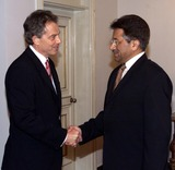 Pervez Musharraf Photo - ALPHA 046362 070102Tony Blair shakes hands with Pakistan President Pervez Musharraf (R) during a meeting in Islamabad Blair on Monday urged Pakistan and India to hold talks on the disputed Himalayan region of Kashmir and welcomed a statement by Pakistan President Musharraf rejecting terrorism  CREDIT ALPHAGLOBE PHOTOS INC