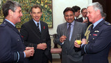 Pervez Musharraf Photo - ALPHA M045804 08112001Britains Prime Minister Tony Blair (2L) and Pakistans President General Musharraf (2R) talk to unidentified Air Force officers at a reception inside No 10 Downing Street in London November 8 2001 Musharraf said the Afghan campaign lacked good intelligence and skated over a disagreement about bombing Afghanistan during the Muslim Holy month of RamadanCREDIT ALPHAGLOBE PHOTOS INC