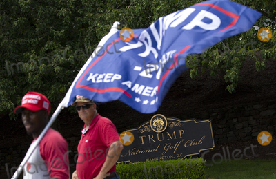 Photo - Supporters of United States President Donald J Trump gather in front of Trump National Golf Club in Sterling Virginia on Sunday August 2 2020 as he prepares to go back to the White House in Washington DC US  Credit Stefani Reynolds  CNPAdMedia