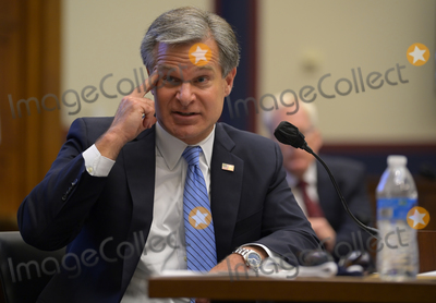 Photo - FBI director Christopher Wray testifies at the US House Committee on Homeland Security in Washington DC  on September 17 2020 Credit John McDonnell   Pool via CNPAdMedia
