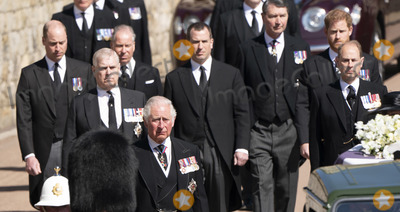 Wale Photo - Photo Must Be Credited Alpha Press 073074 17042021Prince Charles Prince of Wales Prince Andrew Duke of York Prince Edward Earl of Wessex Prince William Duke of Cambridge Peter Phillips Prince Harry Duke of Sussex Earl of Snowdon Viscount Lord David Linley David Armstrong-Jones and Vice-Admiral Sir Timothy Laurence follow Prince Philip Duke of Edinburghs coffin on a modified Jaguar Land Rover during the Ceremonial Procession during the funeral of Prince Philip Duke of Edinburgh at St Georges Chapel in Windsor Castle in Windsor Berkshire No UK Rights Until 28 Days from Picture Shot Date AdMedia