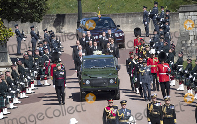 Princess Royal Photo - Photo Must Be Credited Alpha Press 073074 17042021Queen Elizabeth II Princess Anne Princess Royal Prince Charles Prince of Wales Prince Andrew Duke of York Prince Edward Earl of Wessex Prince William Duke of Cambridge Peter Phillips Prince Harry Duke of Sussex Lord Viscount Linley Earl of Snowdon David Armstrong-Jones Viscount Lord David Linley and Vice-Admiral Sir Timothy Laurence follow Prince Philip Duke of Edinburghs coffin on a modified Jaguar Land Rover during the funeral of Prince Philip Duke of Edinburgh at St Georges Chapel in Windsor Castle in Windsor Berkshire No UK Rights Until 28 Days from Picture Shot Date AdMedia