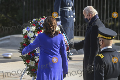 Photo - ARLINGTON VA - JANUARY 20 President Joe Biden and Vice President Kamala D Harris participate in a wreath-laying ceremony at the Tomb of the Unknown Soldier January 20 2021 in Arlington National Cemetery in Arlington Virginia Credit Katherine Frey - Pool via CNPAdMedia