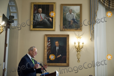 Photo - United States Senate Minority Leader Chuck Schumer (Democrat of New York) and US Senator Ed Markey (Democrat of Massachusetts) join others for a press conference of a coalition of grassroots groups labor unions Black Brown and Indigenous leaders from across the nation for the introduction of a bold plan for economic renewal known as the Transform Heal and Renew by Investing in Vibrant Economy (THRIVE) in the Longworth House Office Building on Capitol Hill in Washington DC Thursday September 10 2020 Credit Rod Lamkey  CNPAdMedia