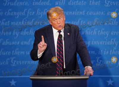 Photo - President Donald Trump speaks during the first of three scheduled 90 minute presidential debates with Democratic presidential nominee Joe Biden in Cleveland Ohio on Tuesday September 29 2020 Credit Kevin Dietsch  Pool via CNPAdMedia