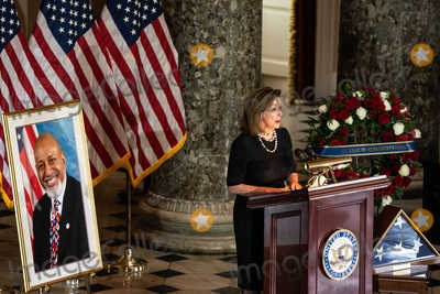 Nancy Pelosi Photo - Speaker of the United States House of Representatives Nancy Pelosi (Democrat of California) speaks at a ceremony celebrating the life of the late former US Representative Alcee Hastings (Democrat of Florida) in Statuary Hall of the Capitol in Washington DC on April 21st 2021Credit Anna Moneymaker  Pool via CNPAdMedia