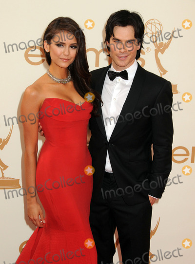 Photo - 18 September 2011 - Los Angeles California - Ian Somerhalder (R) and Nina Dobrev 63rd Primetime Emmy Awards held at Nokia Theatre LA Live Photo Credit Byron PurvisAdMedia