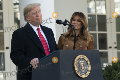 Photo - United States President Donald J Trump and First lady Melania Trump present the National Thanksgiving Turkey at the White House