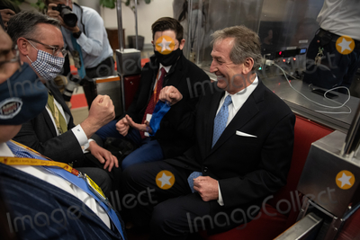 The Subways Photo - President Donald Trumps legal team and prepare to the leave the Senate on the subway after the Senate voted to acquit former president Donald Trump in the second impeachment trial Saturday February 13 2021Credit Graeme Jennings - Pool via CNPAdMedia