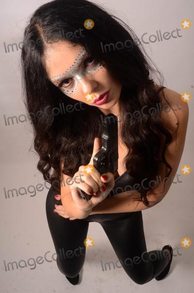 Photo - Natasha Blasick as a Bond-Like Catsuit Spy for Halloween