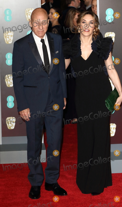 Photo - London UK  Sir Patrick Stewart and Sunny Ozell at EE British Academy Film Awards 2018 - Red Carpet Arrivals at the Royal Albert Hall London on Sunday February 18th 2018 Ref LMK73 -J1591-190218Keith MayhewLandmark Media WWWLMKMEDIACOM