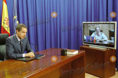 Antonio Garcia Photo - 001541 Jose Zapatero  Jose Antonio Garcia Gonzalez Zapatero in Videoconference with Jose Antonio Garcia Gonzalez and Jose Bono - Madrid Spain 08-17-2005 Photo by Sergio Barreneceha-globelinkukcom-Globe Photos
