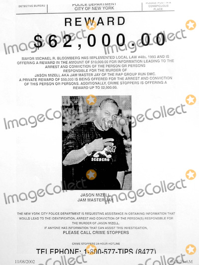 Jason Mizell Photo - 802_new York_nyc Police Issued a Reward of 62000 Thousand Dollars For Information in the Killing of Hip-hop Star Jason Mizell Known As Jam Master Jay of the Rap Group Run Dmc Photo Byneil SchneiderGlobe Photos Inc 2002