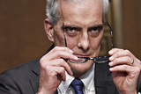Barack Obama Photo - Denis McDonough US secretary of Veterans Affairs (VA) nominee for US President Joe Biden puts on his glasses before swearing in to a Senate Veterans Affairs Committee confirmation hearing in Washington DC US on Wednesday Jan 27 2021 As Barack Obamas chief of staff McDonough oversaw the VAs overhaul in response to its 2014 wait-time scandal and previously served as a deputy national security adviserCredit Sarah Silbiger  Pool via CNPAdMedia