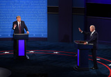 Presidential Campaign Photo - President Donald Trump and Democratic presidential nominee Joe Biden face off in the first of three scheduled 90 minute presidential debates in Cleveland Ohio on Tuesday September 29 2020 Credit Kevin Dietsch  Pool via CNPAdMedia