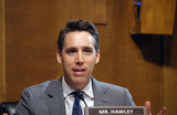 Josh Hawley Photo - United States Senator Josh Hawley (Republican of Missouri asks questions during a hearing of the Senate Judiciary Subcommittee on Privacy Technology and the Law at the US Capitol in Washington DC on Tuesday April 27 2021  The committee will hear testimony about social media platforms use of algorithms and amplification Credit Tasos Katopodis  Pool via CNPAdMedia