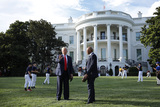 Mariano Rivera Photo - United States President Donald J Trump speaks with Mariano Rivera the MLB Hall of Fame Closer from the Yankees while welcomes young players to mark the Opening Day of the Major League Baseball Season on the South Lawn of the White House in Washington DC on July 23 2020 Credit Yuri Gripas  Pool via CNPAdMedia