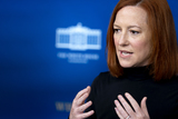 White House Photo - Jen Psaki White House press secretary speaks during a news conference in the James S Brady Press Briefing Room at the White House in Washington DC US on Friday April 9 2021 The US is expected to almost triple its wind and solar capacity over the next 10 years but that still wont be enough to meet President Bidens goal of fully decarbonizing the countrys power system by 2035Credit Stefani Reynolds  Pool via CNPAdMedia