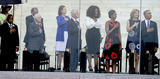 First Lady Michelle Obama Photo - From left to right United States Representative John Lewis (Democrat of Georgia) Ambassador Andrew Young former US President Jimmy Carter Lynda Bird Johnson Robb former US President Bill Clinton Oprah Winfrey first lady Michelle Obama Ambassador Caroline Kennedy and United States President Barack Obama listen to the National Anthem at the Let Freedom Ring ceremony on the steps of the Lincoln Memorial to commemorate the 50th Anniversary of the March on Washington for Jobs and FreedomCredit Ron Sachs  CNPAdMedia