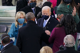 Barack Obama Photo - Joe Biden and Dr Jill Biden spoke with former President Barack Obama before he was  sworn in as the 46th President of the United States on Capitol Hill in Washington DC on January 20 2020 (Erin SchaffThe New York Times NYTINAUGNYTCREDIT Erin SchaffThe New York TimesAdMedia