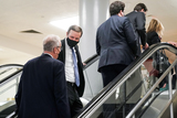 Jerry Moran Photo - Sen Chris Murphy (D-Conn) speaks to Sen Jerry Moran (R-Kan) as they arrive to the Capitol on Wednesday February 10 2021 for the second day of the impeachment trial of former President Donald TrumpCredit Greg Nash - Pool via CNPAdMedia