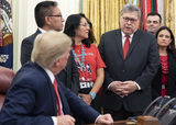 Alaska  Photo - United States Attorney General William P Barr makes remarks prior to US President Donald J Trump signing an Executive Order Establishing the Task Force on Missing and Murdered American Indians and Alaska Natives in the Oval Office of White House in Washington DC on Tuesday November 26 2019Credit Chris Kleponis  Pool via CNPAdMedia