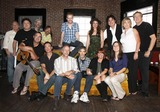 Jeff Taylor Photo - July 26 2011 - Nashville TN - (back row l-r) Name unknown Bill Lloyd Jeff TaylorJim Hoke Brent Anderson Alyssa Bonagura Michael Bonagura Cynthia Martinez and John Jorgenson (front row l-r) Vince Gill Mark Selby Buddy Greene Pete Huttlinger Kathy Baillie and Sean Della Croce Artists musicians and songwriters came together at Mercy Lounge to help raise funds for Pete Huttlinger a widely respected guitarist and Nashville studio artist  Huttlinger has a congenital heart disease and is in need of a heart transplant Photo credit Dan HarrAdmedia