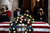 The Used Photo - United States Vice President Kamala Harris pays her respects to the late Officer William Billy Evans as the casket carrying his remains lies in honor in the Rotunda of the US Capitol in Washington DC on April 13th 2020Credit Anna Moneymaker  Pool via CNPAdMedia