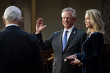 Alabama Photo - Vice President Mike Pence administers the Senate oath of office to United States Senator Tommy Tuberville (Republican of Alabama) as his wife Suzanne holds the bible during a mock swearing-in ceremony in the Old Senate Chamber on Capitol Hill on January 3 2021 in Washington DC (POOL PHOTO by Pete Marovich for The New York Times)Credit Pete Marovich  Pool via CNPAdMedia