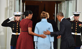 President Barack Obama Photo - President Barack Obama (R) and Michelle Obama escort President-elect Donald Trump and wife Melania into the White House for tea before the inauguration on January 20 2017 in Washington DC  Trump becomes the 45th President of the United States Photo Credit Kevin DietschCNPAdMedia