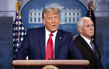 Mark Andes Photo - United States President Donald J Trump joined by US Vice President Mike Pence delivers brief remarks on the stock marked and the Dow reaching 30000 for the first time in history at the White House in Washington DC on Tuesday November 24 2020 Credit Kevin Dietsch  Pool via CNPAdMedia