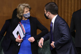 Lisa Murkowski Photo - WASHINGTON DC - APRIL 20 United States Senator Lisa Murkowski (Republican of Alaska) (L) greets US Secretary of Transportation Pete Buttigieg before a Senate Appropriations Committee hearing in the Dirksen Senate Office Building on Capitol Hill on April 20 2021 in Washington DC Members of President Bidens cabinet are testifying about the American Jobs Plan the administrations 23 trillion infrastructure plan that has yet to win over a single Republican in Congress Credit Chip Somodevilla   Pool via CNP