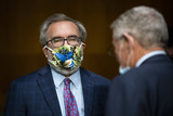 Andrew Wheeler Photo - Andrew Wheeler administrator of the Environmental Protection Agency (EPA) wears a face mask as he arrives during a Senate Environment and Public Works Committee hearing on Capitol Hill in Washington DC US on Wednesday May 20 2020 Credit Al Drago  Pool via CNPAdMedia
