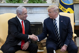 Benjamin Netanyahu Photo - United States President Donald J Trump (R) shakes hands with Prime Minister Benjamin Netanyahu of Israel (L) during their meeting in Oval Office of the White House in Washington DC USA 27 January 2020 President Trump is expected to unveil a Middle East peace plan during the visit of Prime Minister Netanyahu 28 JanuaryCredit Michael Reynolds  Pool via CNPAdMedia