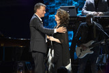 Amy Grant Photo - 30 April 2019 - Nashville Tennessee -  Amy Grant hugs Michael W Smith prior to performing at 35 Years of Friends Celebrating the Music of Michael W Smith held at Bridgestone Arena Photo Credit Frederick BreedonAdMedia