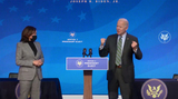 Queen Photo - United States President-elect Joe Biden right makes some additional remarks with US Vice President-elect Kamala Harris after announcing Key Members of White House Science Team from the Queen Theatre in Wilmington Delaware on Friday January 15 2021 Credit Biden Transition TV via CNPAdMedia