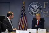 Alex Azar Photo - United States President Donald J Trump listens during a teleconference with governors at the Federal Emergency Management Agency headquarters Thursday March 19 2020 in Washington DC US Secretary of Health and Human Services (HHS) Alex Azar is at leftCredit Evan Vucci  Pool via CNPAdMedia
