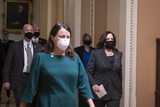 The Ceremonies Photo - US Vice President Kamala Harris arrives for the ceremonial swearing in of United States Senator Patrick Leahy (Democrat of Vermont) in as President Pro Tempore of the Senate at the US Capitol in Washington DC Thursday February 4 2021 Credit Rod Lamkey  CNPAdMedia