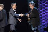 Vince Gill Photo - 30 April 2019 - Nashville Tennessee - Vince Gill shakes hands with Michael W Smith after a performance at 35 Years of Friends Celebrating the Music of Michael W Smith held at Bridgestone Arena Photo Credit Frederick BreedonAdMedia