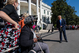 White House Photo - United States President Donald J Trump speaks to the media as he walks to Marine One on the South Lawn of the White House on Thursday October 15 2020 Trump will deliver remarks at a Fundraising Committee Reception in Doral FLand participate in a Live NBC News Town Hall Event    Credit Ken Cedeno  Pool via CNP
