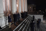 American Flag Photo - An honor guard carries an urn with the cremated remains of US Capitol Police officer Brian Sicknick and a folded American flag up the steps of the US Capitol to lie in honor in the Rotunda Tuesday Feb 2 2021 in Washington Credit Alex Brandon  Pool via CNPAdMediaAdMedia