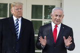 Benjamin Netanyahu Photo - Benjamin Netanyahu Prime Minister of the State of Israel speaks to members of the media with United States President Donald J Trump outside of the White House in Washington DC US on Monday January 27 2020Credit Stefani Reynolds  CNPAdMedia